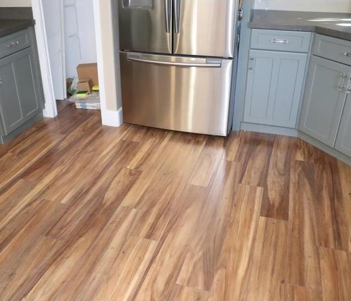 Flooring in kitchen is all dry.